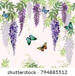 seamless vector floral summer...   Shutterstock .eps vector #794885512