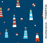 marine seamless pattern with... | Shutterstock .eps vector #794889436
