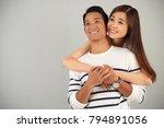 adorable asian couple looking... | Shutterstock . vector #794891056