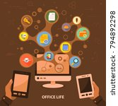 office life flat icon concept.... | Shutterstock .eps vector #794892298