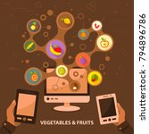 vegetables and fruits flat icon ...   Shutterstock .eps vector #794896786