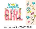 super girl lettering with girly ... | Shutterstock .eps vector #794897056