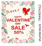 vintage cute happy valentine... | Shutterstock .eps vector #794907412