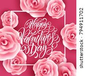 valentines day lettering with... | Shutterstock .eps vector #794911702