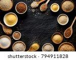 various groats  cereals.... | Shutterstock . vector #794911828