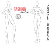 women's figure sketch.... | Shutterstock .eps vector #794912392