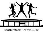 jumping people on a trampoline... | Shutterstock .eps vector #794918842