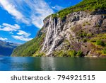 The seven sisters waterfall over Geirangerfjord, located near the Geiranger village, Norway - stock photo