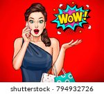 surprised young sexy woman with ... | Shutterstock . vector #794932726