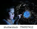 a little girl with her finger... | Shutterstock . vector #794937412