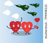 cute hearts characters with jet.... | Shutterstock .eps vector #794948122