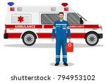 emergency doctor man and... | Shutterstock .eps vector #794953102