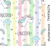 cute hand drawn unicorn pattern. | Shutterstock . vector #794956276