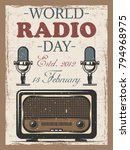 world radio day colored vintage ... | Shutterstock .eps vector #794968975