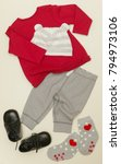 grey   red baby outfit | Shutterstock . vector #794973106