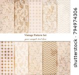 damask patterns set vector.... | Shutterstock .eps vector #794974306