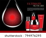red cosmetic set with red... | Shutterstock .eps vector #794976295