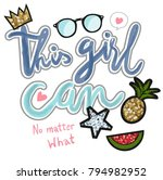this girl can slogan with... | Shutterstock .eps vector #794982952