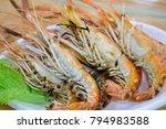 grilled shrimps with vegetable... | Shutterstock . vector #794983588