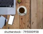 office stuff with notepad ... | Shutterstock . vector #795000958