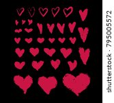 set of hand drawn hearts in... | Shutterstock .eps vector #795005572
