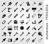 tools vector icons set. wire... | Shutterstock .eps vector #795012016