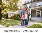 portrait of smiling family... | Shutterstock . vector #795016372