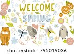 set of vector doodle animals...   Shutterstock .eps vector #795019036