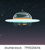a flying saucer flies in the... | Shutterstock .eps vector #795020656
