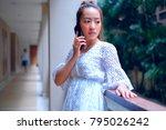 beautiful asian girl in casual... | Shutterstock . vector #795026242