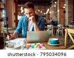 handsome modern young man... | Shutterstock . vector #795034096