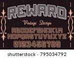 vintage font alphabet... | Shutterstock .eps vector #795034792