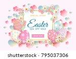 horizontal easter sale banner ... | Shutterstock .eps vector #795037306