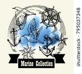 sea illustration retro style.... | Shutterstock .eps vector #795037348