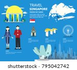 singapore map with outstanding... | Shutterstock .eps vector #795042742