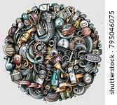 cartoon vector doodles...   Shutterstock .eps vector #795046075