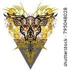 grunge deer head golden... | Shutterstock .eps vector #795048028