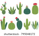 cactus collections set | Shutterstock .eps vector #795048172