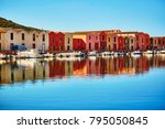 river embankment with colorful...   Shutterstock . vector #795050845