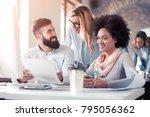 team of young engineers working ... | Shutterstock . vector #795056362