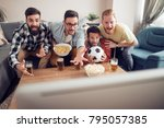 young football fans are... | Shutterstock . vector #795057385