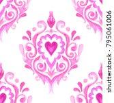 Pink Damask Hand Drawn Floral...
