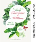 tropical wedding invitation... | Shutterstock .eps vector #795065092