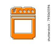 stove sign. vector. black line...   Shutterstock .eps vector #795065596