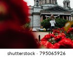 loving couple hugs against a... | Shutterstock . vector #795065926