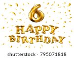 6th birthday celebration with... | Shutterstock .eps vector #795071818