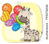 greeting card cute cartoon... | Shutterstock .eps vector #795076036