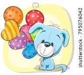 greeting card cute cartoon...   Shutterstock .eps vector #795076042