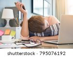 exhausted  tired asian... | Shutterstock . vector #795076192