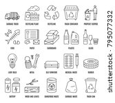 vector waste sorting icon set... | Shutterstock .eps vector #795077332